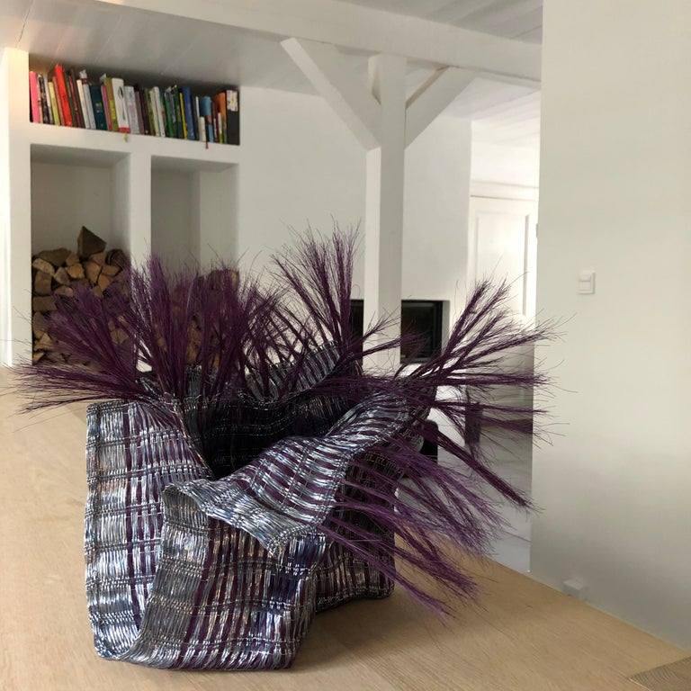 Hand-Woven Textile Sculpture by Annemette Beck Lacquered Copper Danish Contemporary For Sale