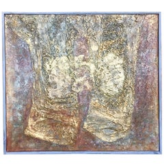 Textural Abstract French 1960s Modernist Painting
