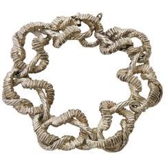 Textural Italian Vintage Marked Sterling Silver Link Bracelet