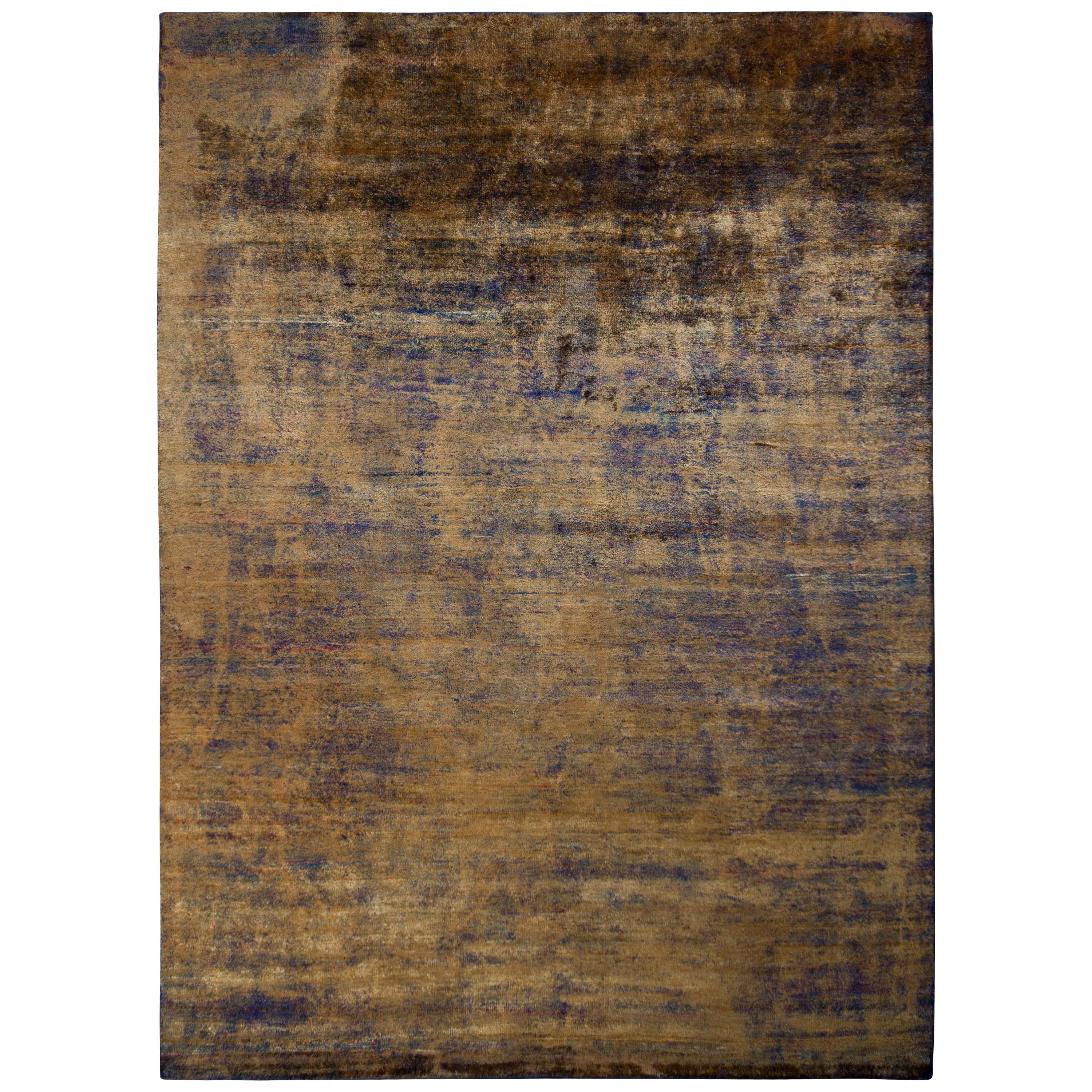 Rug & Kilim's Textural Modern Rug Gold Brown and Blue Abrashed Striped Pattern