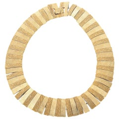 Textural Reticulated Gold Plated Collar Necklace Vintage