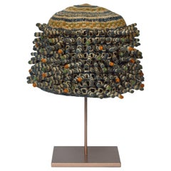 Textural Woven Chief's Prestige Hat, Bamileke Culture, Cameroon, Africa