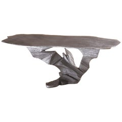 Textured One of a Kind Cast Aluminum Sculpture Table