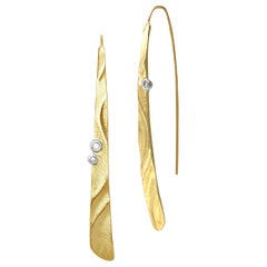 Textured 14 Karat Yellow Gold Long Puzzle Earrings with Diamond Accents