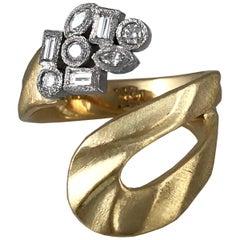 Textured 18 Karat Gold Open Ring-Multi Shape Diamonds in 18 Karat Gold Bezels
