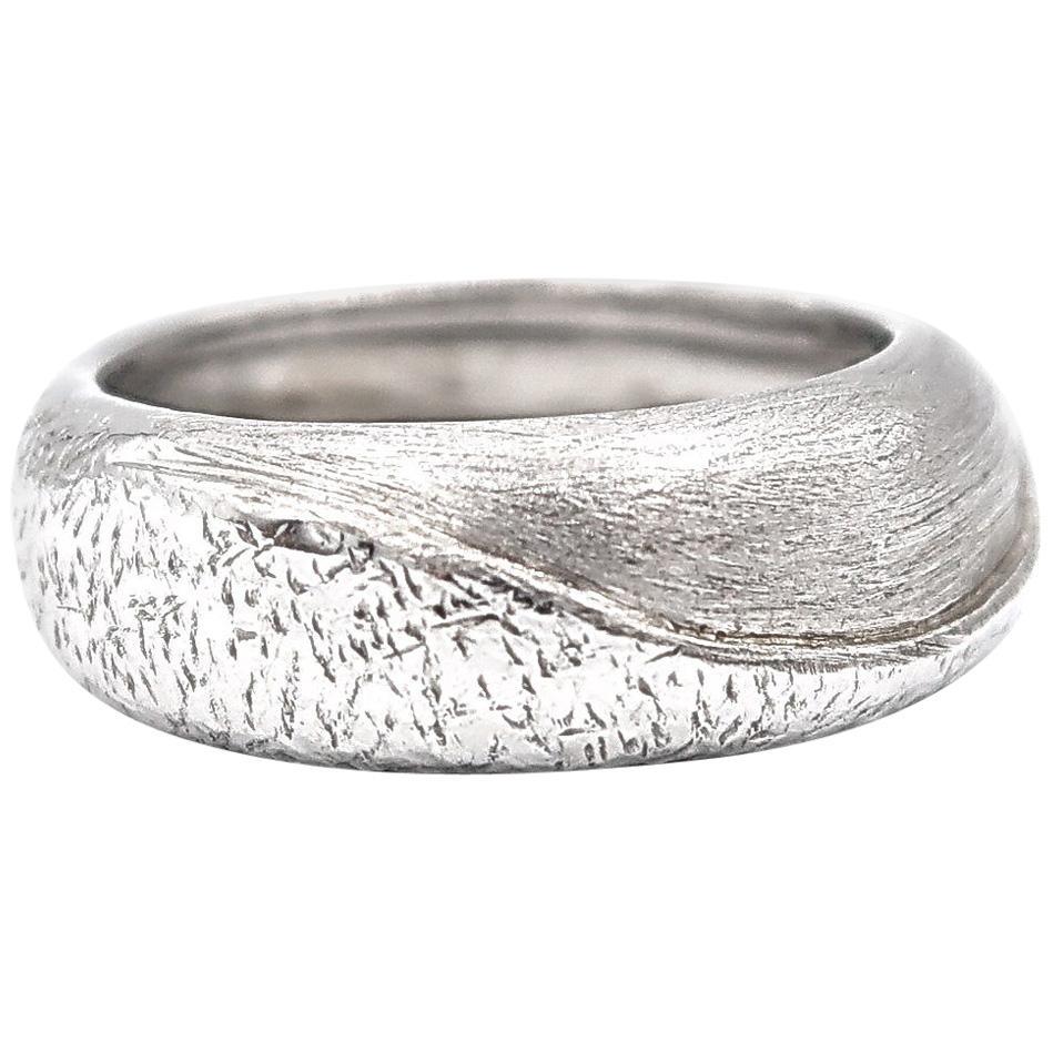 Textured 18 Karat White Gold Band Ring