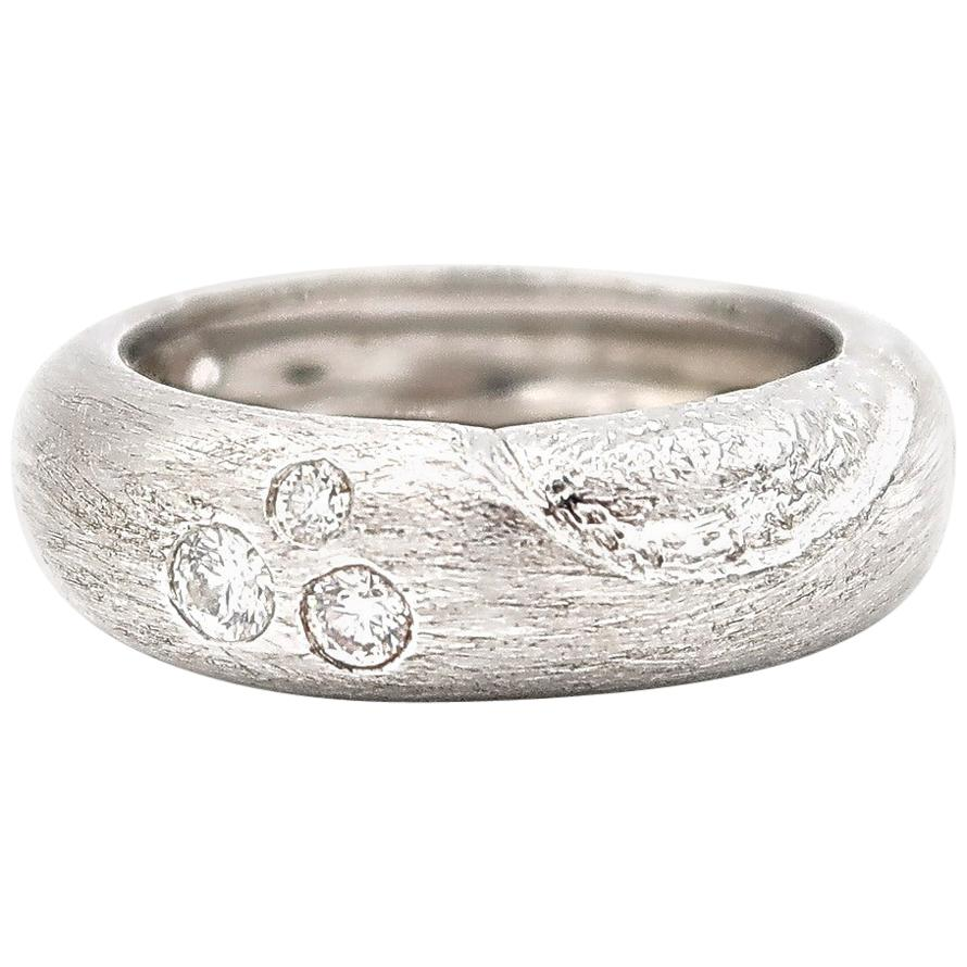 Textured 18 Karat White Gold Band Ring with Diamond Groupings