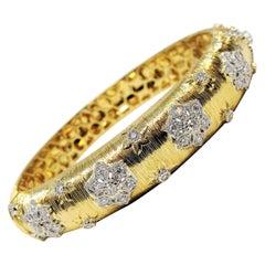 Textured 18 Karat Yellow Gold Diamond Flower Bangle Bracelet 1.55 Carat Total