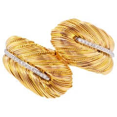 Textured 18 Karat Yellow Gold Feather Bypass Diamond Hinged Cuff Bracelet