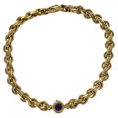 Textured 18 Karat Yellow & Rose Gold Link Necklace Cabochon Lapis Lazuli Clasp