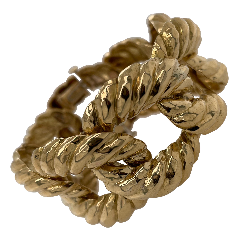 Textured 18k Yellow Gold Curb Bracelet