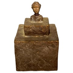 Textured Bronze Bust of a Woman Sculpture, Indonesia, Contemporary