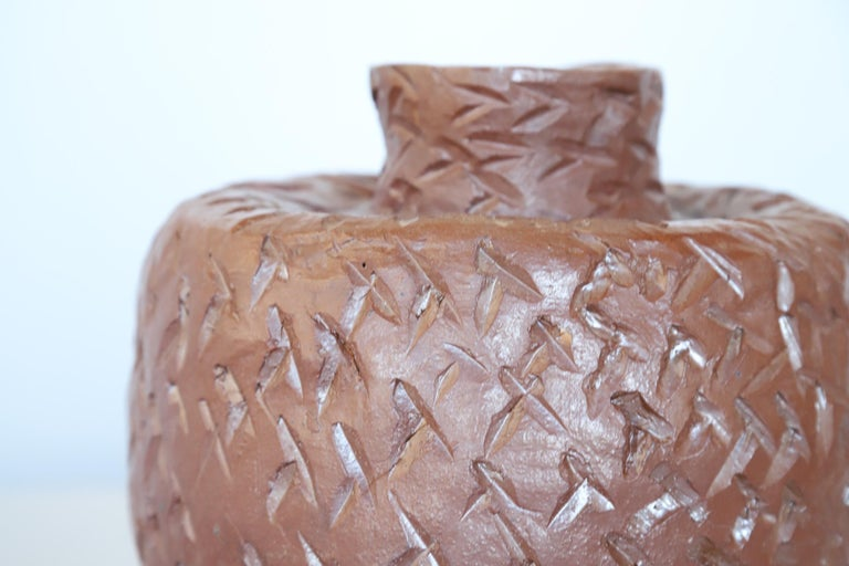 Mid-Century Modern Textured Ceramic Pot For Sale