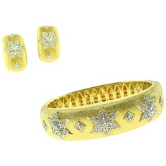 Textured Diamond Star Wide Bangle and Half Hoop Earring Set, in 18K Yellow Gold