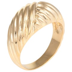 Textured Dome Cocktail Ring Vintage 18 Karat Yellow Gold Fine Estate Jewelry