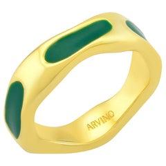 Textured Enamel Ring (Dark Green)
