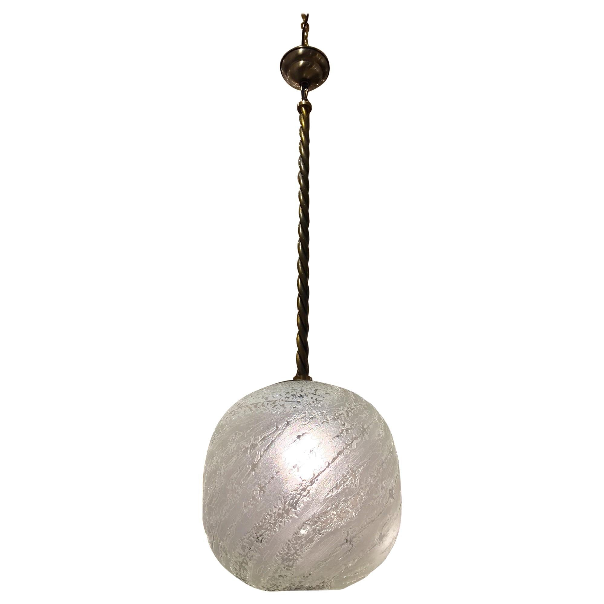 Textured Frosted Murano Glass Globe Pendant Light