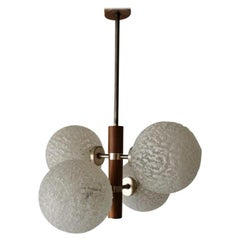 Textured Glass and Teak 4 Balls Pendant Lamp by Temde Leuchten, 1960s, Germany