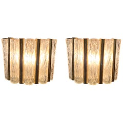 Textured Glass Tube Shape Sconces with Brass Trim, France, Midcentury