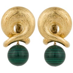 Textured Gold and Malachite Drop Earrings