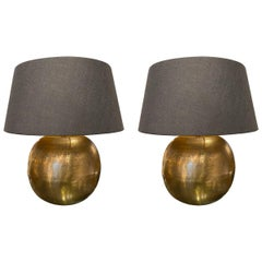Textured Gold Color Metal Pair of Lamps, China, Contemporary