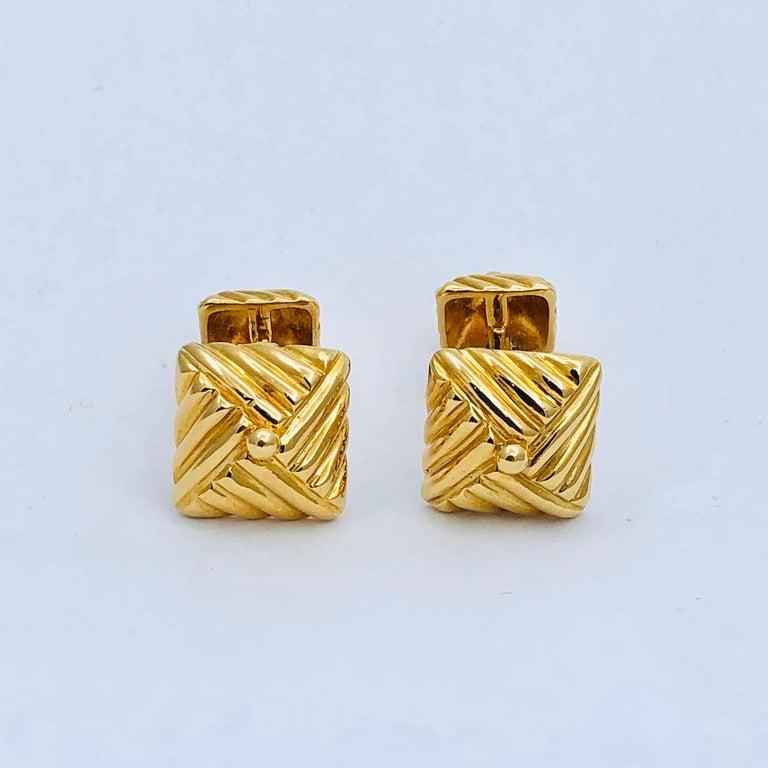Textured Gold Cufflinks by Emis Beros In Good Condition For Sale In Palm Beach, FL