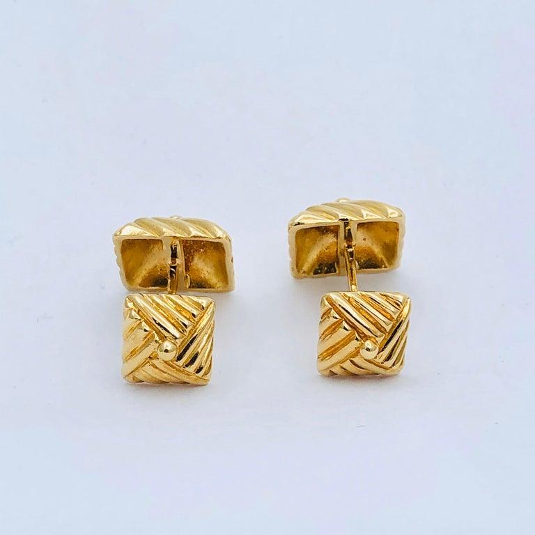 Women's or Men's Textured Gold Cufflinks by Emis Beros For Sale