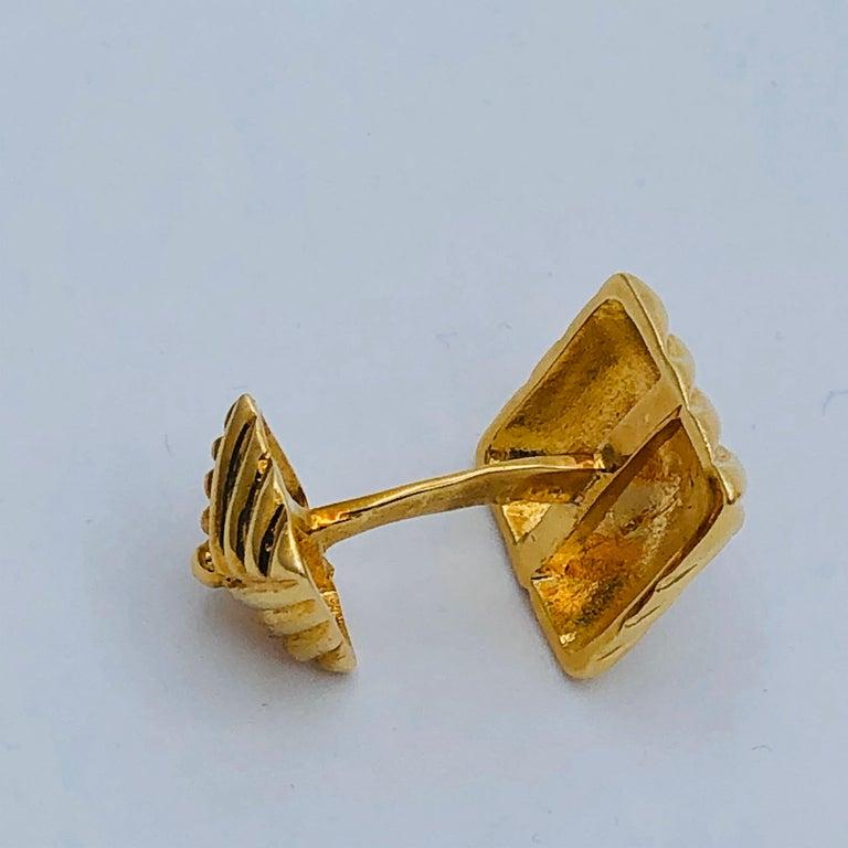 Textured Gold Cufflinks by Emis Beros For Sale 2