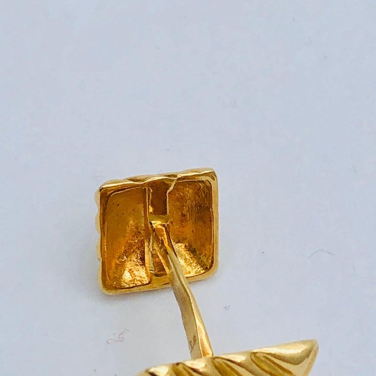 Textured Gold Cufflinks by Emis Beros For Sale 3