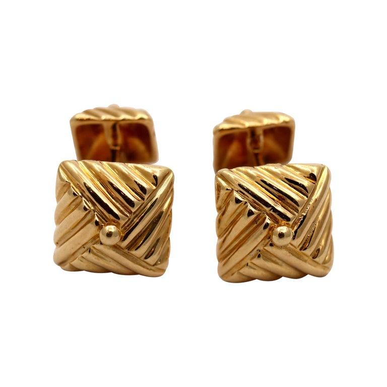 Textured Gold Cufflinks by Emis Beros For Sale