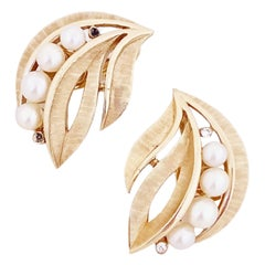 Textured Gold Leaf Earrings With Pearl Accents By Crown Trifari, 1960s