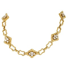 Textured Gold Link Chain with Diamond Panels