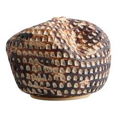 Textured Handmade Ceramic Vase/ Wabi Sabi Natural Crème and Brown