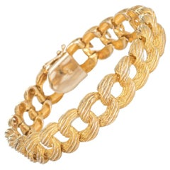Textured Heavy Curb Link Bracelet Vintage 14k Yellow Gold Estate Jewelry