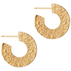 Textured Hoop Earrings in Gold by Allison Bryan