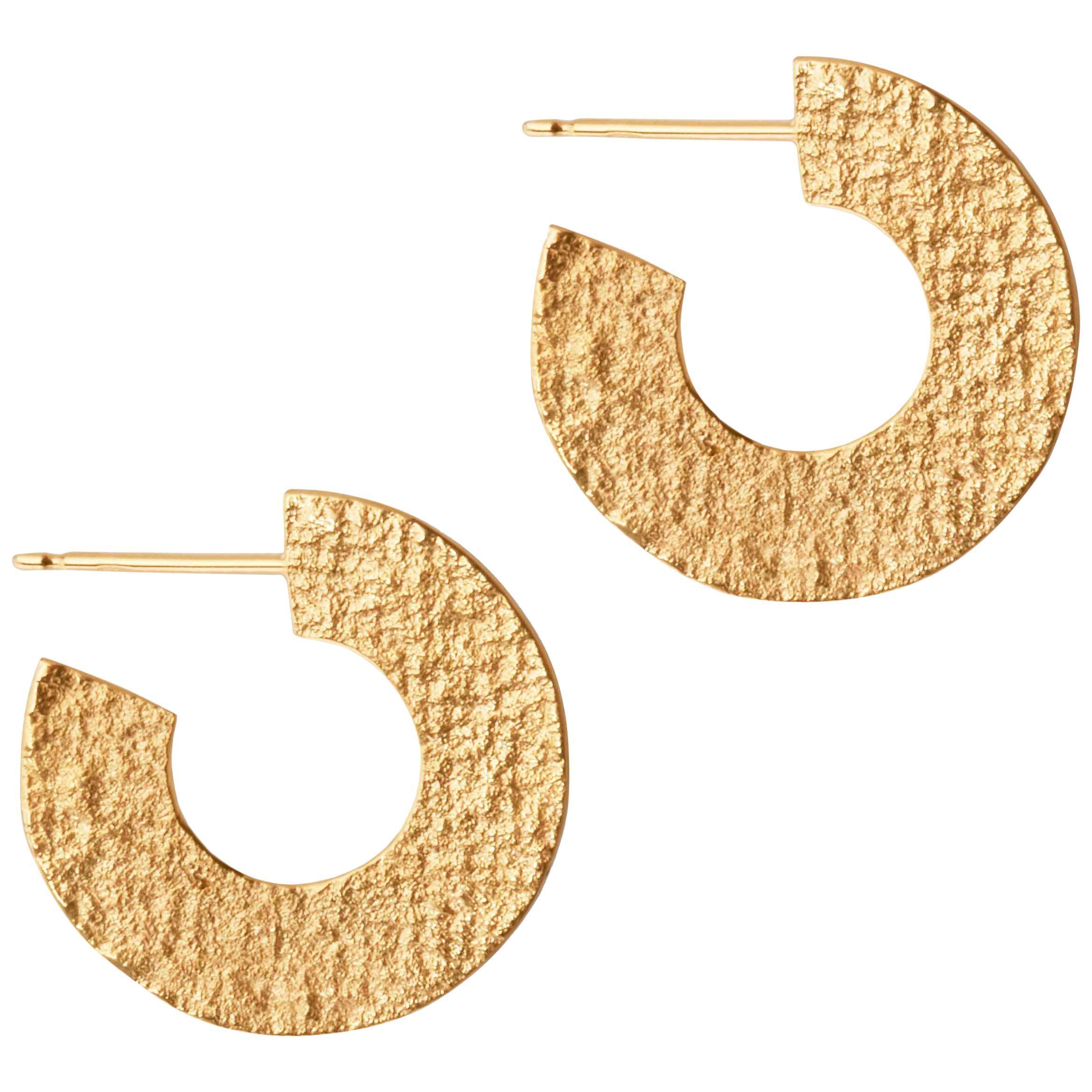 Textured Hoop Earrings in Gold by Allison Bryan