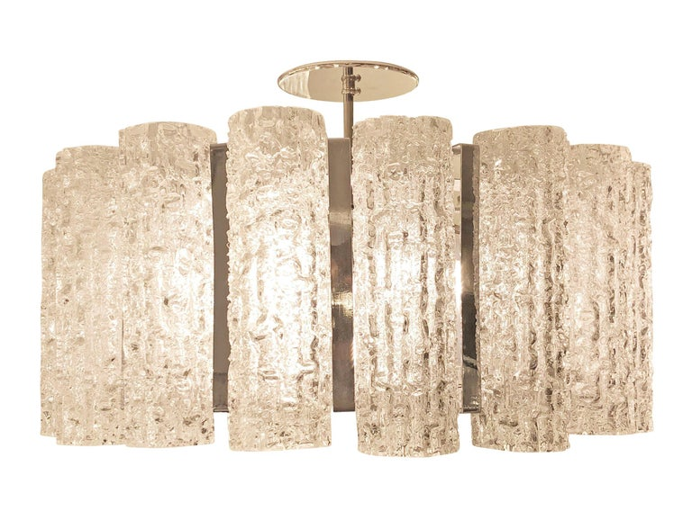 Mid-Century Modern Textured Murano Glass Chandelier, Two Available For Sale