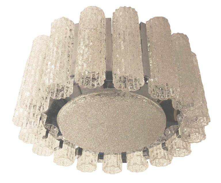 Textured Murano Glass Chandelier, Two Available In Good Condition For Sale In New York, NY