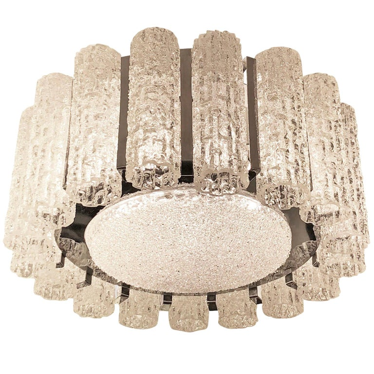 Textured Murano Glass Chandelier, Two Available For Sale