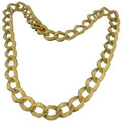 Textured Necklace, 18 Karat Yellow Gold, France, circa 1970