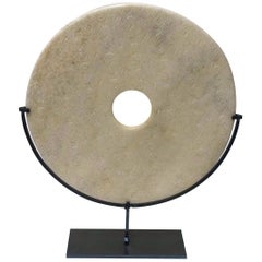 Textured Off-White Marble Disc Sculpture, China, Contemporary