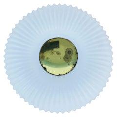 Textured Opaline Glass Round Flush Mount by Glashütte Limburg, 1960s, Germany