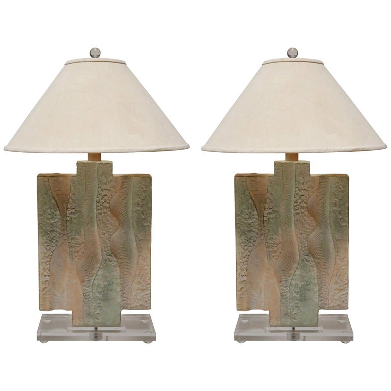 Textured Pastel Colored Table Lamps on a Lucite Base, a Pair For Sale