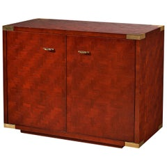 Textured Red Cabinet with Lacquered Surface