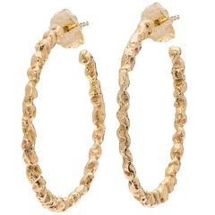 Textured Rose Gold Hoop Earrings