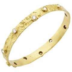 Textured Seascape Bangle with 3.33 Carat Diamonds Set in 18 Karat Gold