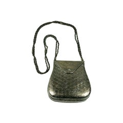 Textured Silver Metal Shoulder Bag