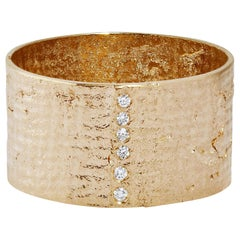 Textured Solid Gold Paper Ring with Diamonds by Allison Bryan
