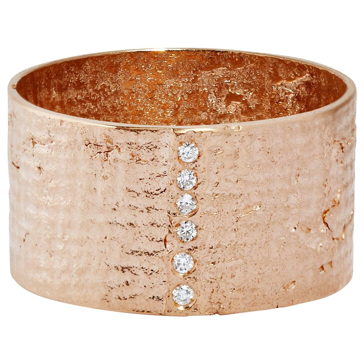 Textured Solid Rose Gold Paper Ring with Diamonds by Allison Bryan