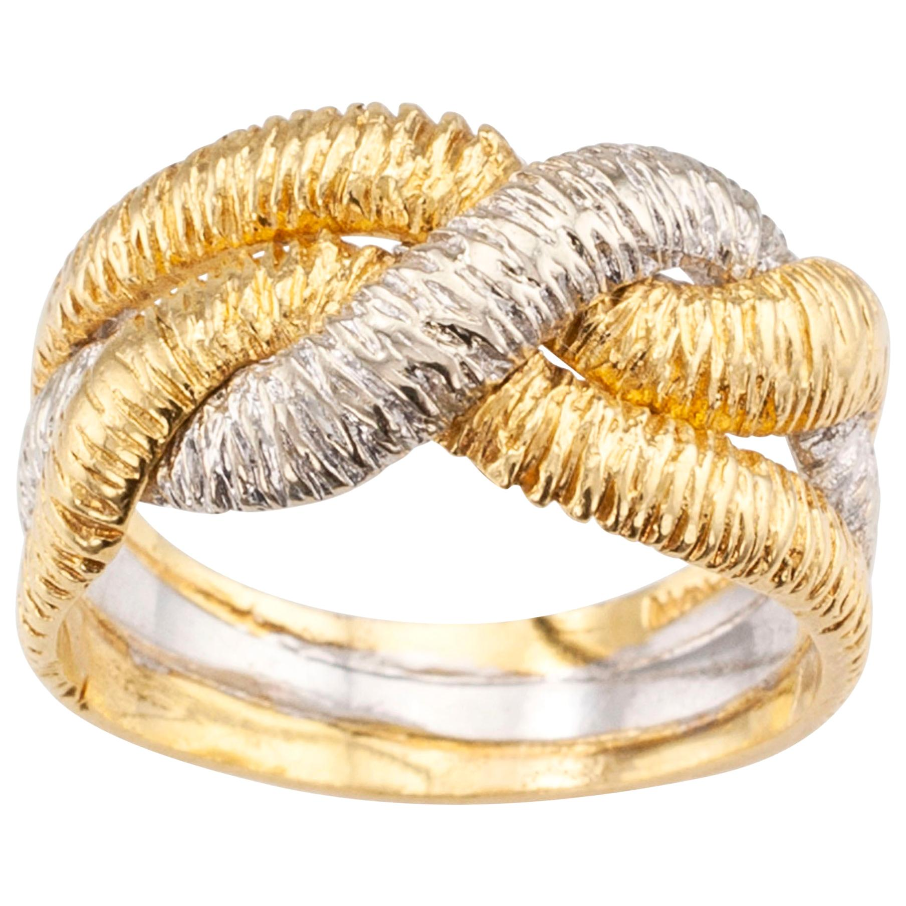 Textured Two-Tone Gold Ring Band